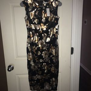 NWT New York & Company Gold Floral Dress